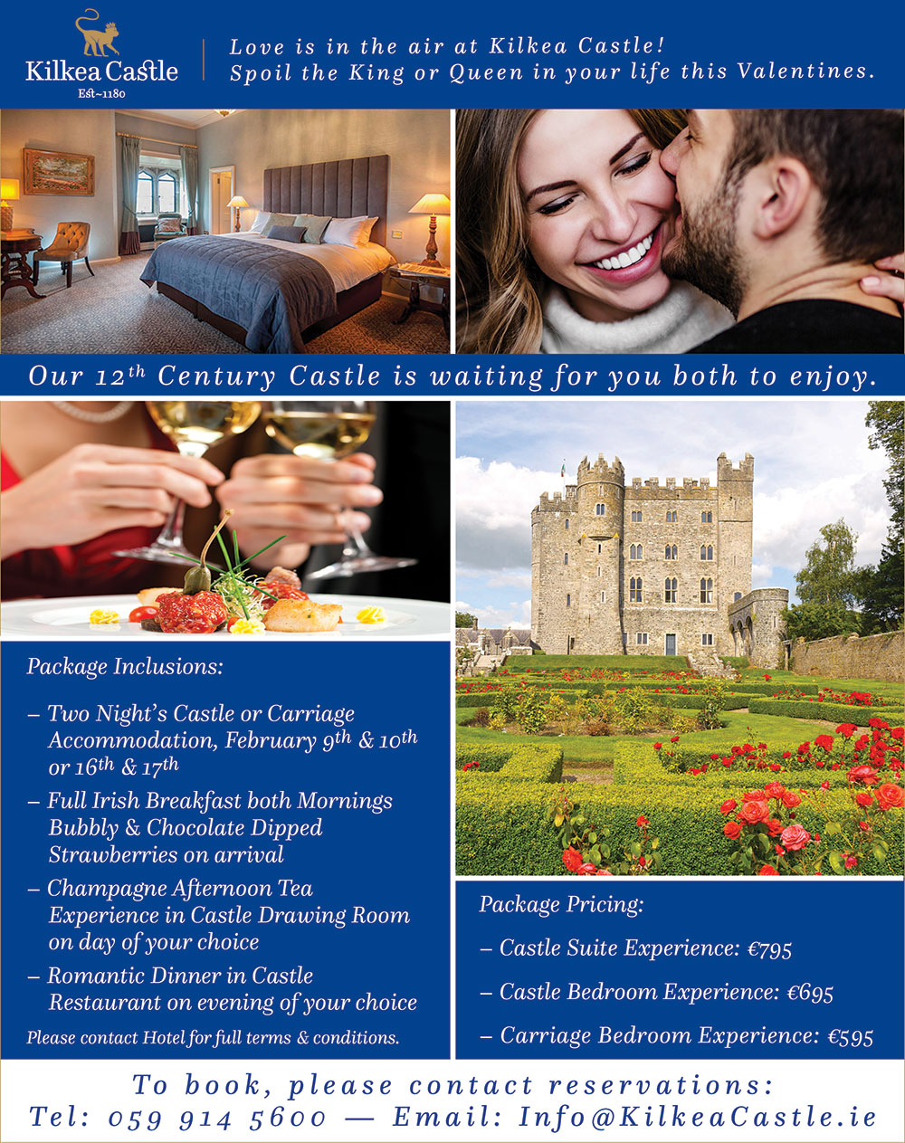 Valentine S Day Weekend Packages Kilkea Castle Estate Golf Club